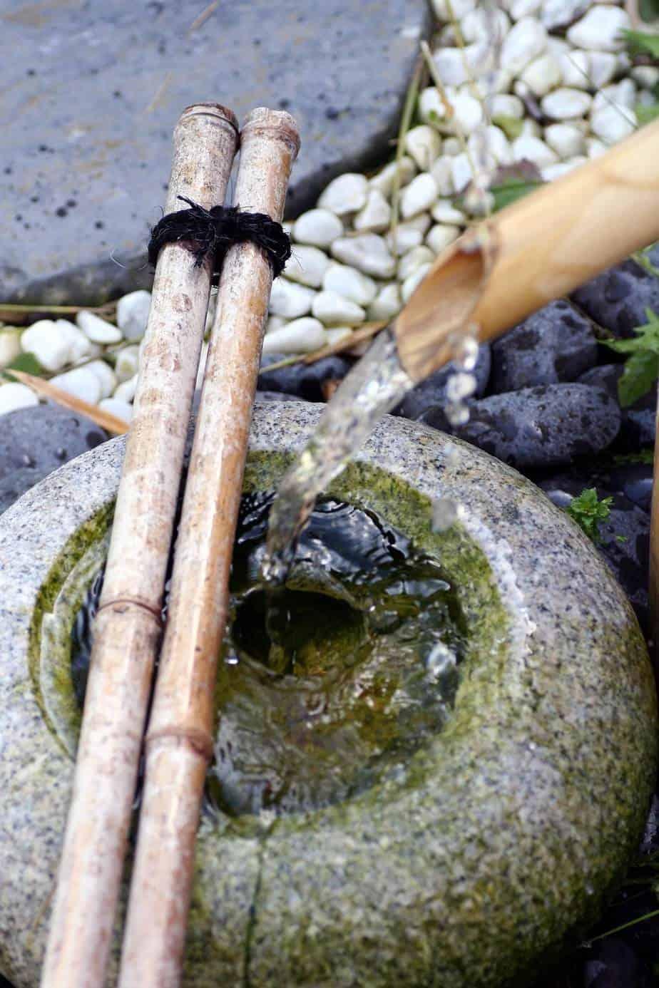 fontaine de jardin bambou