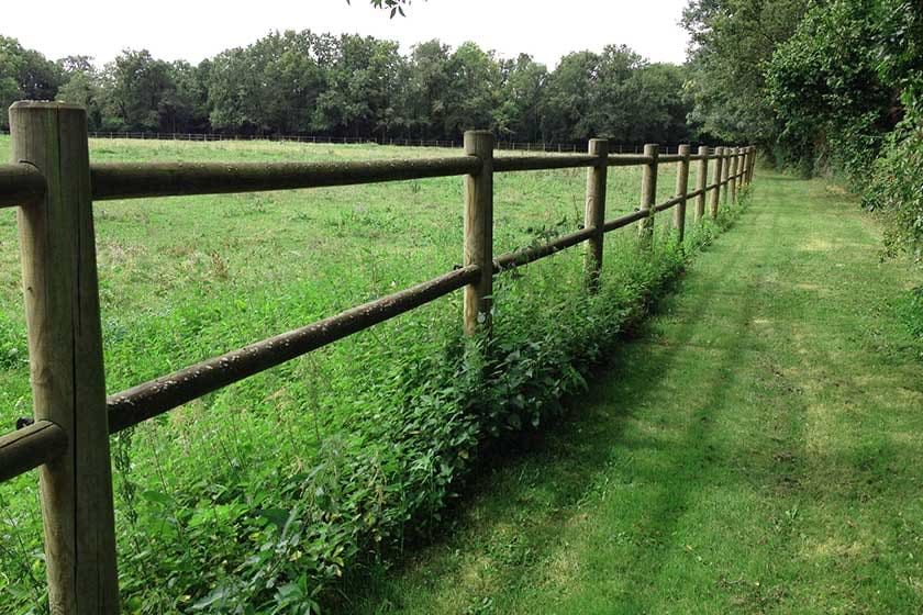 clôture en bois en rondins