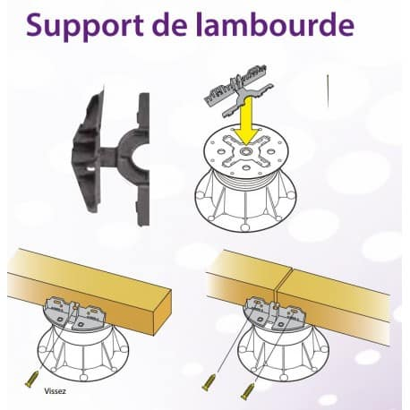 Support de lambourde terrasse sur plots