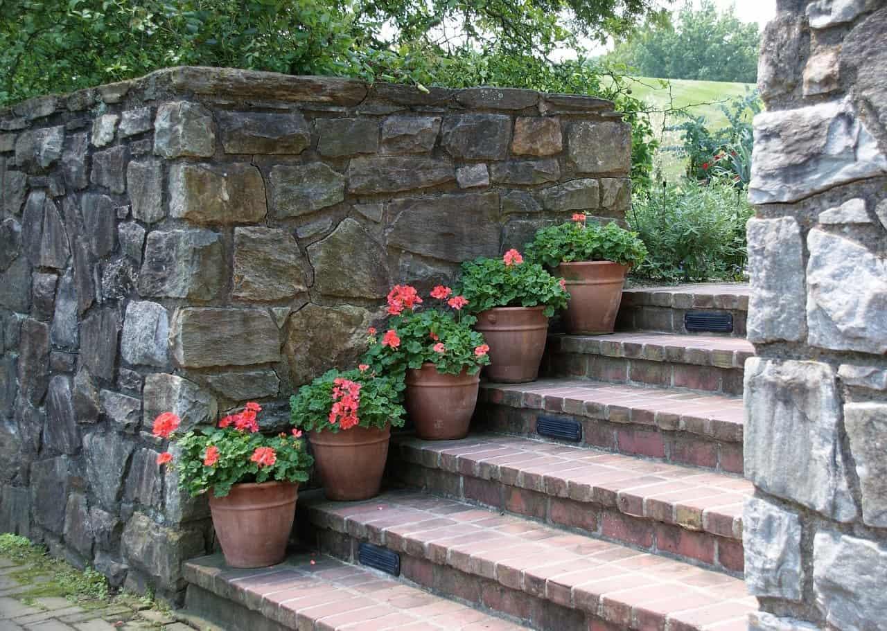 escalier jardin en pente